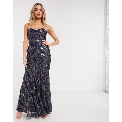 クラブエル ロンドン レディース ワンピース トップス Club L bandeau sequin fishtail maxi dress