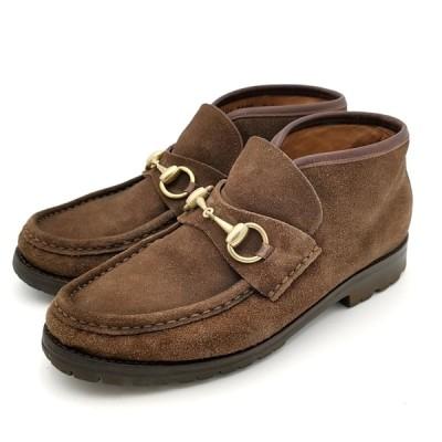 送料無料 グッチ GUCCI モカシン ブーツ 靴 シューズ ホースビット スエード 104 0088 36 1/2C 22.5cm相当 茶 ブラウン系 レディース