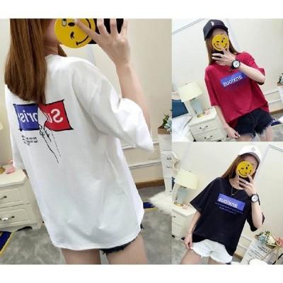 Tシャツ半袖 春夏 夏 夏物 マルネック ファッション プリントtシャツ レディース愛用 半袖 夏適用 ゆったり 3カラー