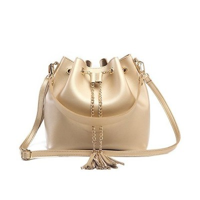 Toniker Crossbody Bags for Women Small Leather Drawstring Bucket Bag with T