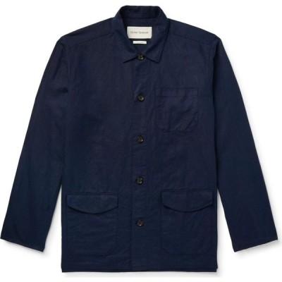 オリバー スペンサー OLIVER SPENCER メンズ シャツ トップス Linen Shirt Dark blue