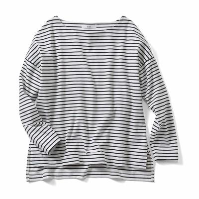 福田麻琴さんコラボ ピッチにこだわった大人ゆるボーダーTシャツ〈ブラック×ホワイト〉 IEDIT[イディット] フェリシモ FELISSIMO