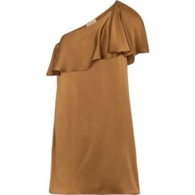 イヴ サンローラン Saint Laurent レディース ワンピース ミニ丈 ワンピース・ドレス one-shoulder satin crepe minidress Ocre