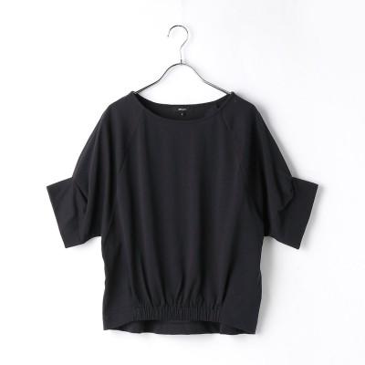コムサイズム COMME CA ISM デザインスリーブ 裾ギャザー カットソー (ネイビー)