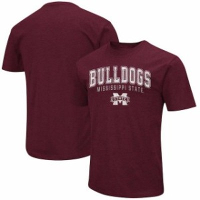 Colosseum コロセウム スポーツ用品  Colosseum Mississippi State Bulldogs Heathered Maroon Distressed Arch Over Logo T-Shirt