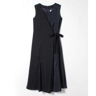 LANVIN en Bleu(Wear) / サイドリボンラップ風デザインワンピース