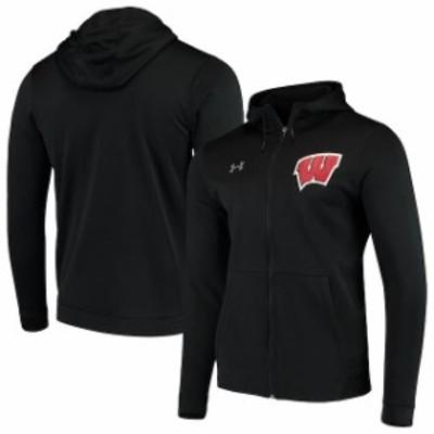 Under Armour アンダー アーマー スポーツ用品  Under Armour Wisconsin Badgers Black School Logo Full-Zip Hoodie