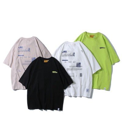 Tシャツメンズ半袖プリント純綿夏服トップ新品カジュアル綿TシャツメンズTシャツゆったり学生運動会文化祭黒白緑MLXL2XL