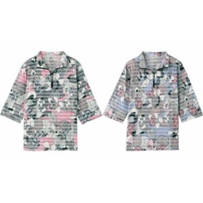6分袖ハーフジップTシャツ M~L 97385 ケアファッション