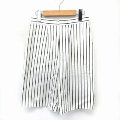 【中古】アダムエロペ Adam et Rope' パンツ ガウチョ クロップド 格子柄 サイドジップ ポケット 0 ホワイト /ST5