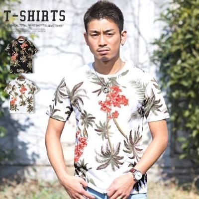 Tシャツ メンズ 半袖 メンズTシャツ プリントTシャツ プリント ボタニカル柄 総柄