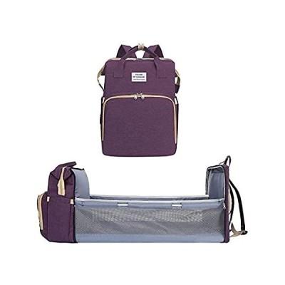 Diaper Backpack (Purple) Diaper Bag Backpack with auto Folding Crib, Portab好評販売中