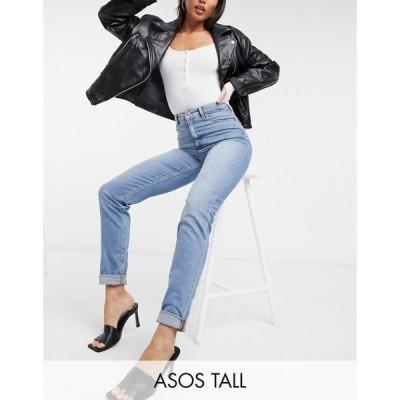 エイソス ASOS Tall レディース ジーンズ・デニム ボトムス・パンツ ASOS DESIGN Tall high rise 'farleigh' slim mom jeans in stonewash ウォッシュブルー