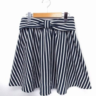 【中古】CHAIN REACTION スカート リボン ストライプ フレア ミニ M ネイビー 紺 ホワイト 白 /FT32 レディース