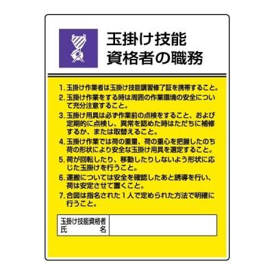 作業主任者職務板(玉掛け技能・資格者の職務)808-25