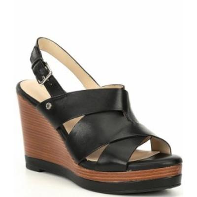 コールハーン レディース サンダル シューズ Laci Leather Platform Wedge Sandals Black