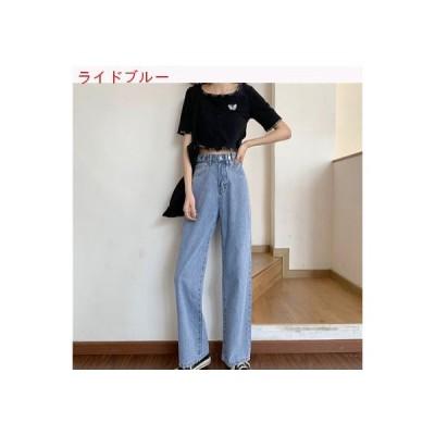 【送料無料】ルース 女性のジーンズ ワイドレッグ ストレート 夏 韓国風 ハイウエスト 着やせ 何で   364331_A63283-1235712