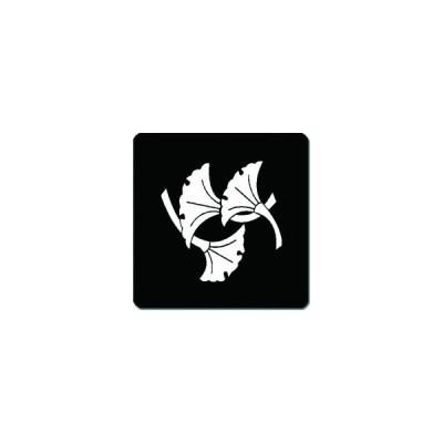 家紋シール 三つ落ち銀杏紋 24cm x 24cm KS24-1571W 白紋