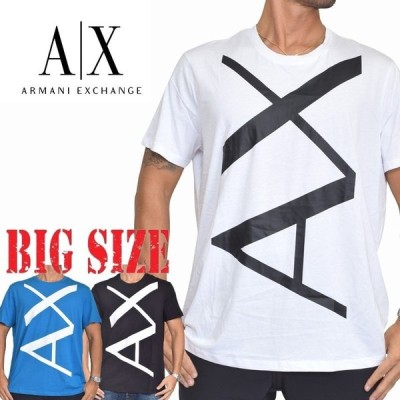 SALE 大きいサイズ メンズ アルマーニエクスチェンジ A/X ARMANI EXCHANGE ビッグロゴ クルーネック 半袖Tシャツ SLIM FIT 白 青 黒 XL XXL [M便 1/1]