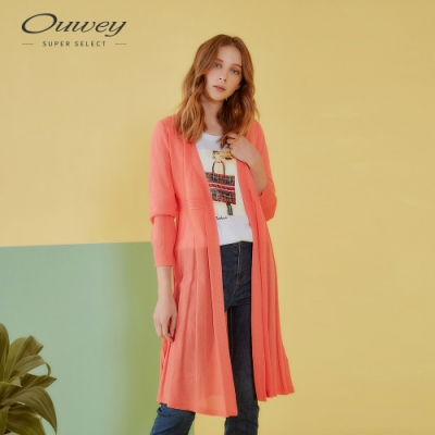 OUWEY歐薇 簡約百摺長版針織外套(黑/桔)