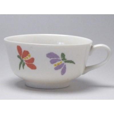 【B級品】パステル小花(紫・赤/緑/紫) クリーム反口ティーカップ [普段使いの食器]