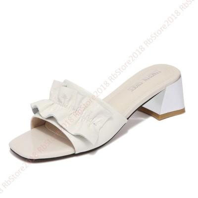 フリルミュールサンダル オシャレ フリル 大人 フェミニン ミドルヒール 黒色 白色 歩きやすい エレガント サボサンダル 疲れにくい 履きやすい