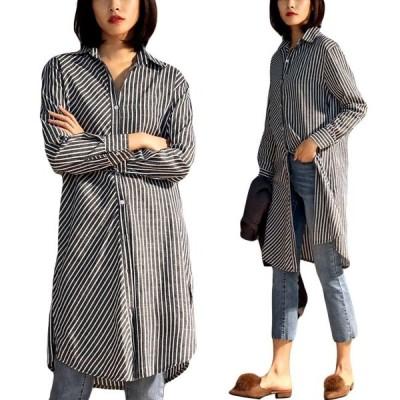 レディースロングシャツおしゃれ春体型カバーストライプ柄長袖大きいサイズカジュアルゆったり夏トップス春秋