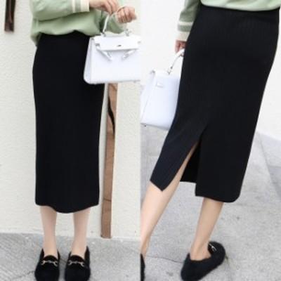 スカート ニット リブ編み リブニット スリット ロングスカート スリムフィット セクシー 小柄 小さいサイズ 小さい 服
