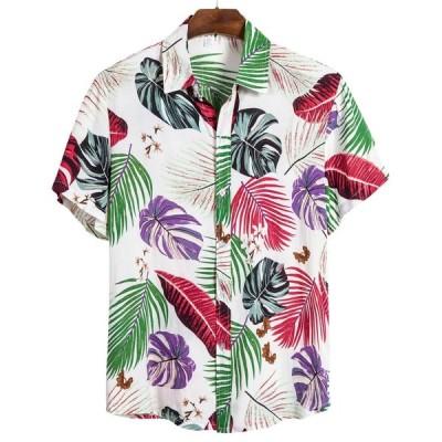 Feitong ハワイシャツ男性コットンリネンエスニック半袖カジュアルハワイアン印刷クール薄型通気性シャツビーチブラウストップ