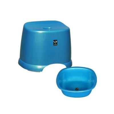 アンティー 風呂椅子・湯桶セット ブルー