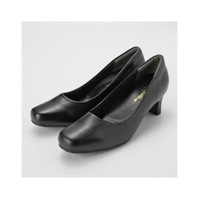 パンプス 大きいサイズ レディース ブラックスクエアトゥミドルヒール 制菌・消臭中敷 選べるワイズ 年中 靴 23.5〜27cm ニッセン
