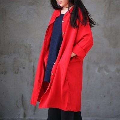 女性中国スタイル無地ロングトレンチコート新しい2019春ヴィンテージ緩いスタンド襟シングルブレストコート