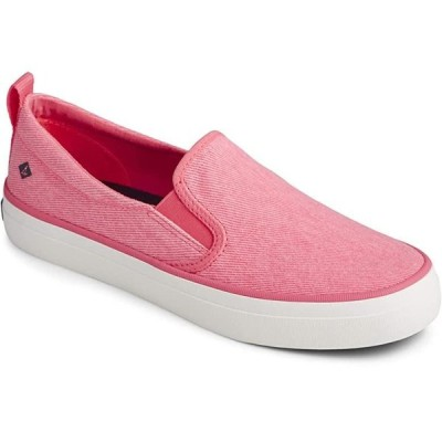 Sperry Crest Twin Gore Washed Twill レディース スニーカー Neon Pink