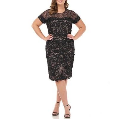 ジェイエスコレクションズ レディース ワンピース トップス Plus Size Soutache Lace Illusion Yoke Short Sleeve Scallop Hem Sheath Dress