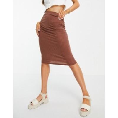 エイソス レディース スカート ボトムス ASOS DESIGN midi pencil skirt in rib in chocolate Brown