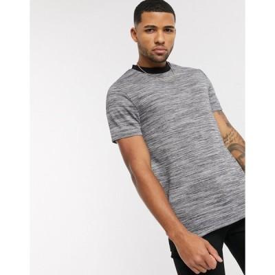 エイソス 半袖Tシャツ メンズ ASOS DESIGN t-shirt in textured fabric with black contrast ringer エイソス ASOS グレー 灰色
