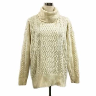 【中古】ナノユニバース Genuine Couture セーター ニット プルオーバー タートルネック ケーブル編み 長袖 38 白
