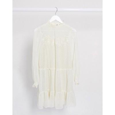 ヴェロモーダ レディース ワンピース トップス Vero Moda dobby mesh mini smock dress with embroidery in cream