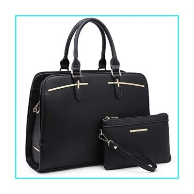Dasein Women Satchel Handbag Shoulder Purse Top Handle Work Bag Tote Bag With Matching Wallet (Black)【並行輸入品】