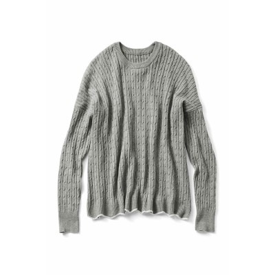 リブ イン コンフォート Live in comfort ゆったりラインで着こなしやすい 総柄ケーブル編みシルク混ニット (グレー)