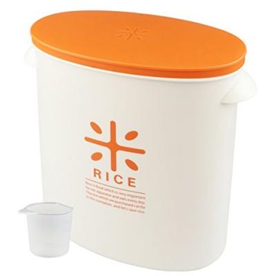 パール金属 日本製 米びつ 5kg オレンジ 計量カップ付 お米 袋のまま ストック RICE HB-3435オレンジ