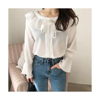 monodaily レディース ブラウス Honey butter frill blouse
