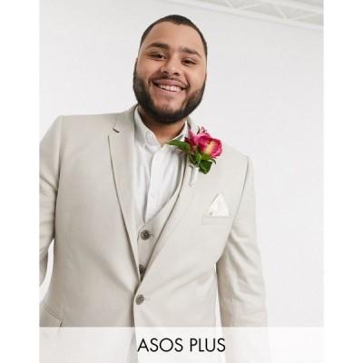 エイソス メンズ ジャケット&ブルゾン アウター ASOS DESIGN Plus wedding super skinny suit jacket in stretch cotton linen in stone Stone