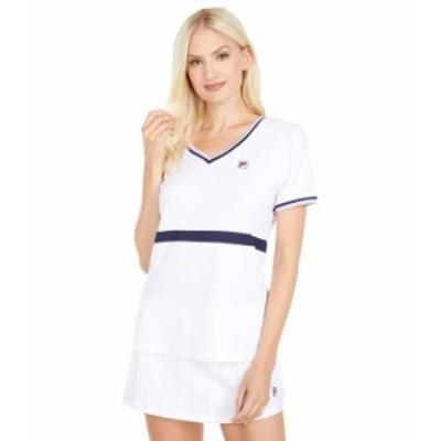 フィラ レディース シャツ トップス Heritage Short Sleeve Top Navy/White