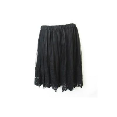 【中古】セシルマクビー CECIL McBEE フラワー刺繍 ウエストゴム チュールスカート 黒 ブラック  M レディース 【ベクトル 古着】