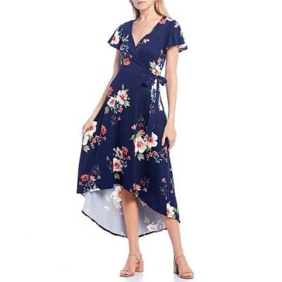 I.N.サンフランシスコ レディース ワンピース トップス Surplice Floral High-Low Wrap Dress