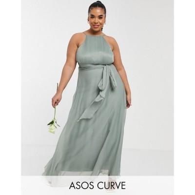 エイソス ASOS Curve レディース パーティードレス マキシ丈 Asos Design Curve Bridesmaid Ruched Pinny Maxi Dress With Tie Waist Detail In Olive オリーブ