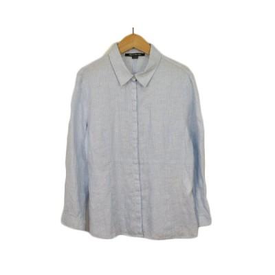 【中古】ペニーブラック PENNYBLACK シャツ ブラウス ストライプ 長袖 リネン 42 水色 ブルー レディース 【ベクトル 古着】
