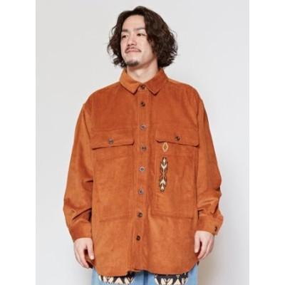 【チャイハネ】ネイティブ柄刺繍コーデュロイMEN'Sシャツ