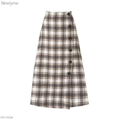 [フェイクウールボタンアシメラップスカート NL FN CS  ]◆入荷済